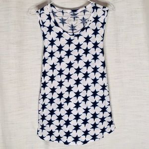 LUCKY BRAND Tank top white with blue stars